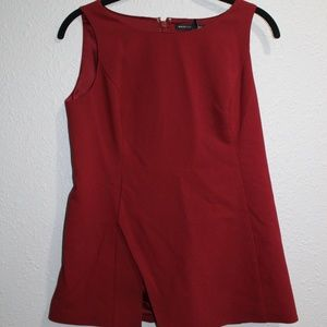 White House Black Market Red Tank Blouse with Slit